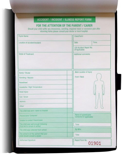 School and nursery accident incident illness report form