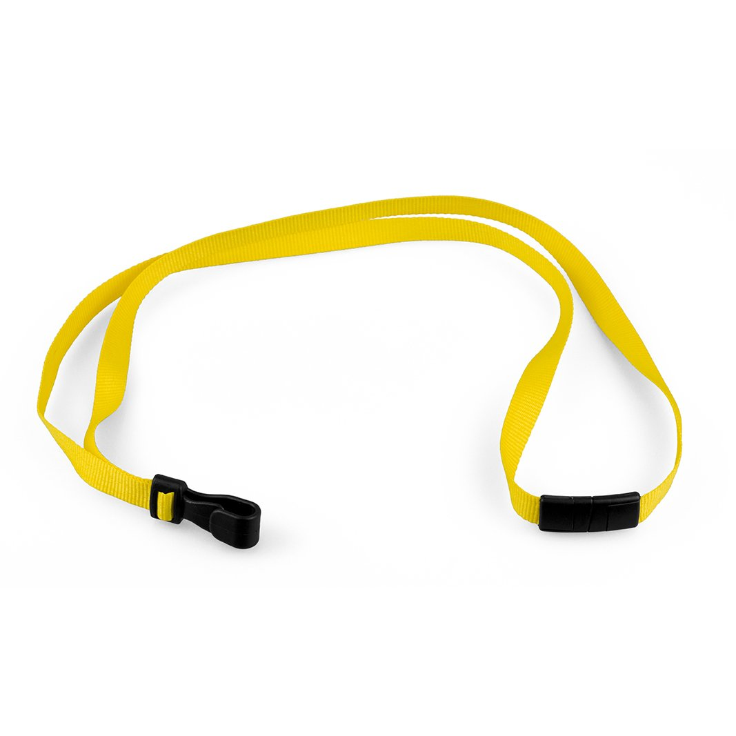 Stock Plain 10mm Lanyard With Plastic Clip Yellow Qty 100