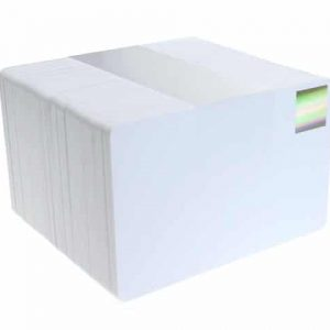 Blank White Plastic Cards with Gold Holopatch (Pack of 100)