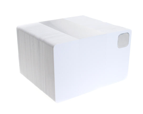 Blank White Plastic Cards with Metal Insert (Pack of 100)