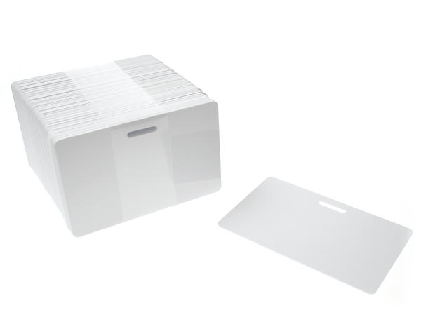 Blank White Slot Punched Plastic Cards (Pack of 100)