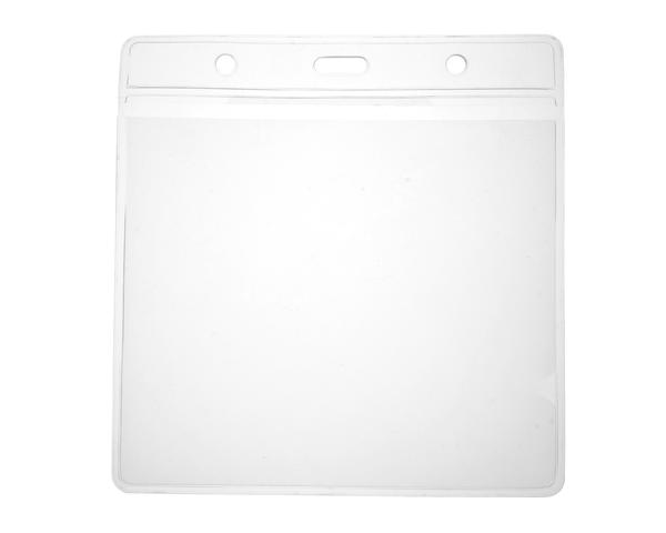 Clear Vinyl Visitor ID Card Holders with 118x112mm Insert (Pack of 100)