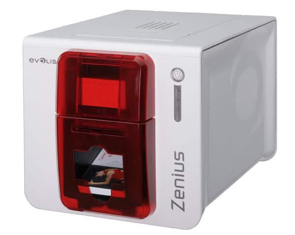 Evolis Zenius Expert Single-Sided Card Printer, Red, USB, Ethernet - ZN1H0000RS
