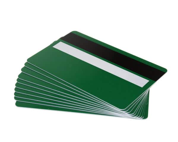 Forest Green Plastic Cards With Magnetic Stripe & Signature Strip (Pack of 100)