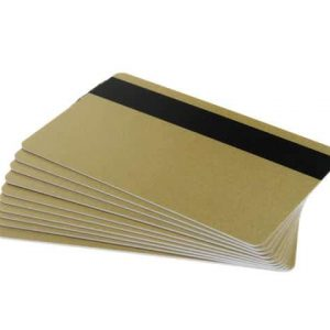 Light Gold 760 Micron Cards with 2750oe Hi-Co Magnetic Stripe, Coloured Core - Pack of 100