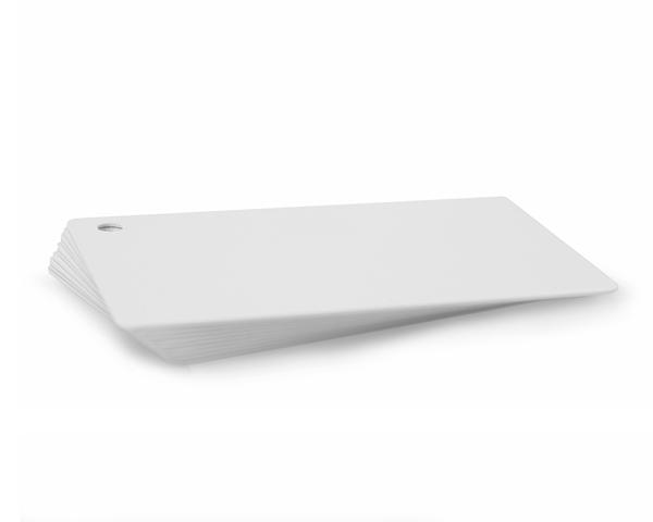 Premium White 760 Micron Cards with 5mm Round Hole Punch in top right corner (portrait orientation) - Pack of 100