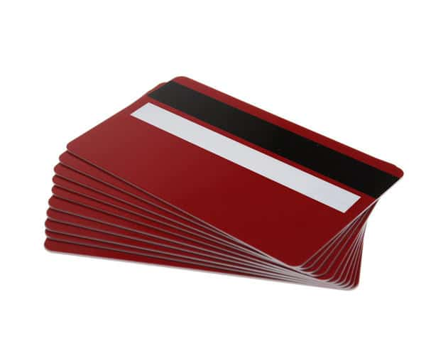 Red Plastic Cards With Magnetic Stripe & Signature Strip (Pack of 100)