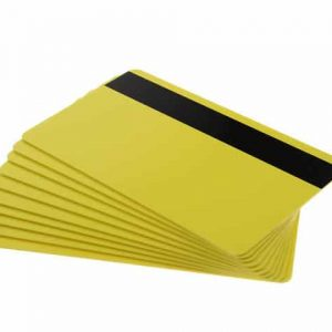 Yellow Plastic Cards With Hi-Co Magnetic Stripe, Coloured Core (Pack of 100)