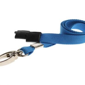 10mm Light Blue Lanyards with Breakaway and Metal Lobster Clip - Pack of 100