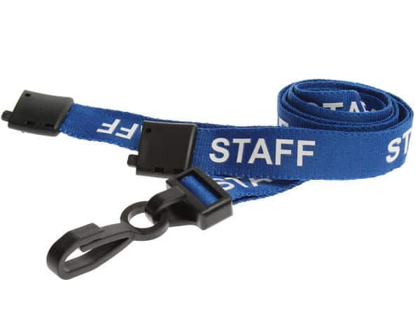 15mm Blue Staff Lanyards with Breakaway and Plastic J Clip - Pack of 100