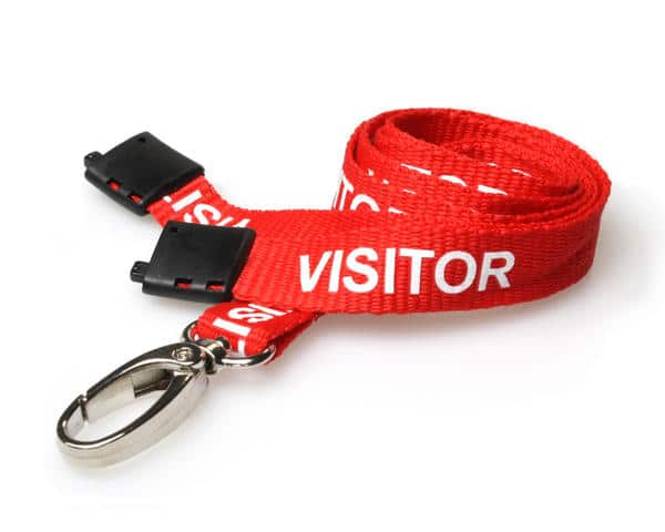 15mm Red Visitor Lanyards with Breakaway and Metal Lobster Clip - Pack of 100