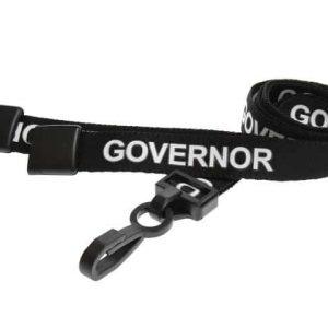 Black Governor Lanyards with Plastic J Clip (Pack of 100)