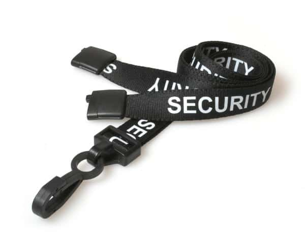Black Security Lanyards with Plastic J Clip (Pack of 100)