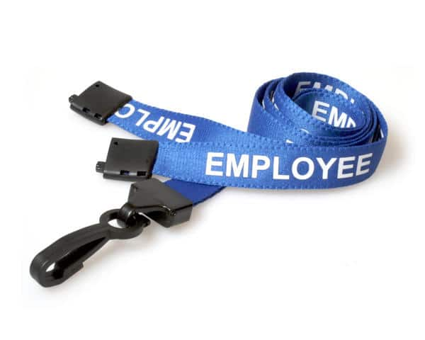 Blue Employee Lanyards with Plastic J Clip (Pack of 100)
