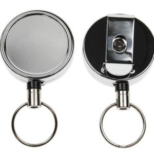 Chrome ID Badge Reels with Key Ring (Pack of 50)