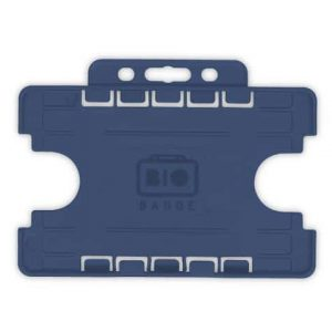 Dark Blue Dual-Sided BIOBADGE Open Faced ID Card Holders - Landscape (Pack of 100)