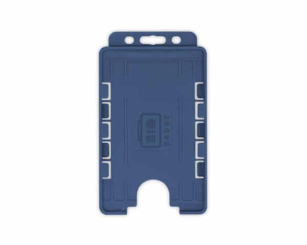 Dark Blue Dual-Sided BIOBADGE Open Faced ID Card Holders - Portrait (Pack of 100)