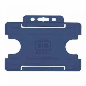 Dark Blue Single-Sided BIOBADGE Open Faced ID Card Holders - Landscape (Pack of 100)
