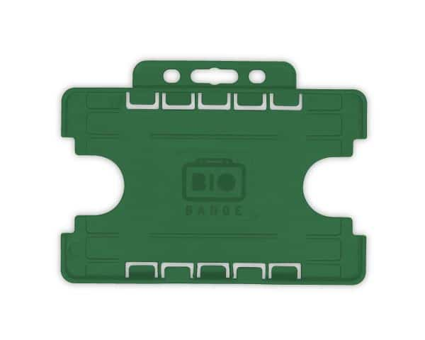 Dark Green Dual-Sided BIOBADGE Open Faced ID Card Holders - Landscape (Pack of 100)