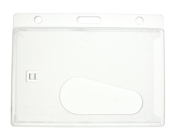 Enclosed Rigid Card Holder, Clear with 50mm Thumb Slot, Landscape - Pack of 100