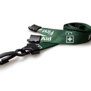 Green First Aid Lanyards with Plastic J Clip (Pack of 100)