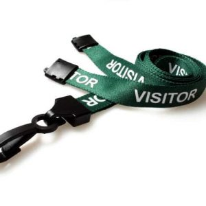 Green Visitor Lanyards with Plastic J Clip (Pack of 100)