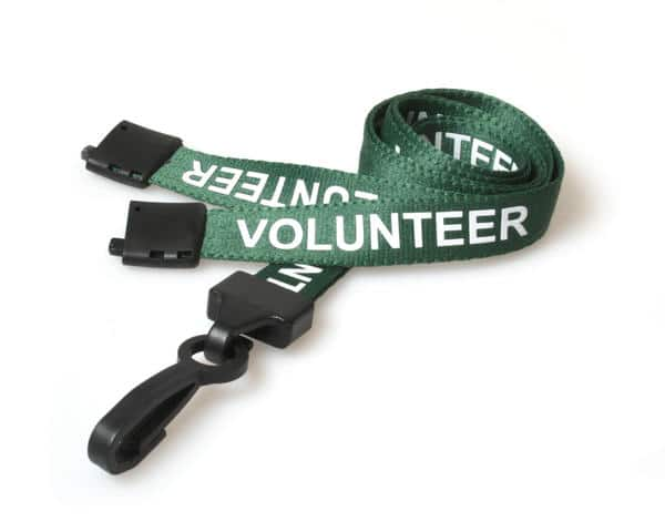Green Volunteer Lanyards with Plastic J Clip (Pack of 100)