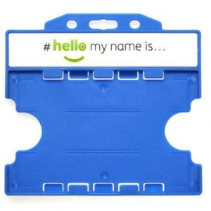'Hello My Name Is' Light Blue Open-Faced Dual-Sided ID Card Holders - Landscape (Pack of 100)