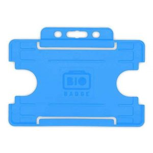 Light Blue Single-Sided BIOBADGE Open Faced ID Card Holders - Landscape (Pack of 100)