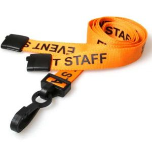 Orange Event Staff Lanyards with Plastic J Clip (Pack of 100)