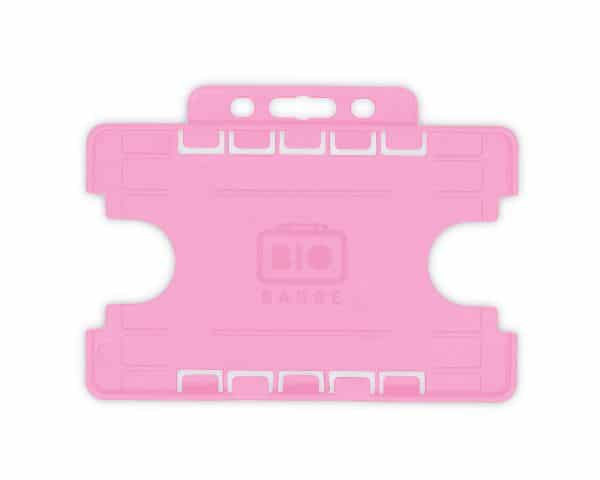 Pink Dual-Sided BIOBADGE Open Faced ID Card Holders - Landscape (Pack of 100)