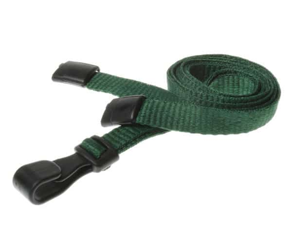Plain Dark Green Lanyards with Plastic J Clip (Pack of 100)