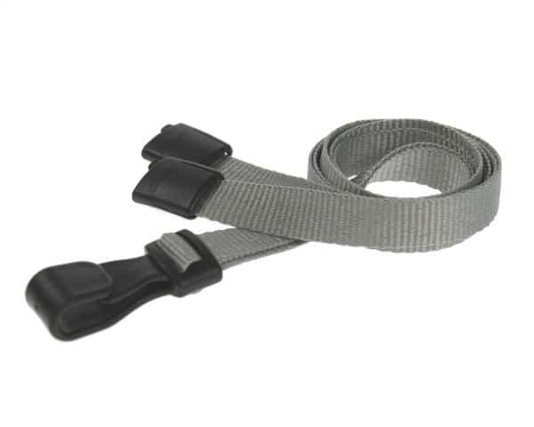 Plain Grey Lanyards with Plastic J Clip (Pack of 100)