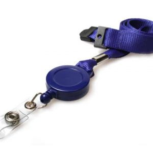 Plain Navy Blue Lanyards with Card Reels (Pack of 50)