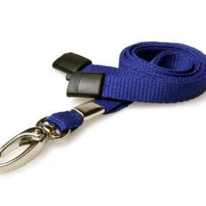 Plain Navy Blue Lanyards with Metal Lobster Clip (Pack of 100)
