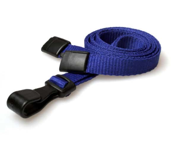 Plain Navy Blue Lanyards with Plastic J Clip (Pack of 100)