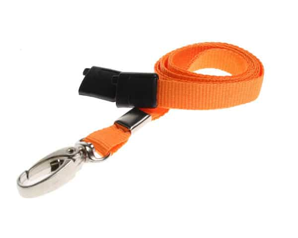 Plain Orange Lanyards with Metal Lobster Clip (Pack of 100)