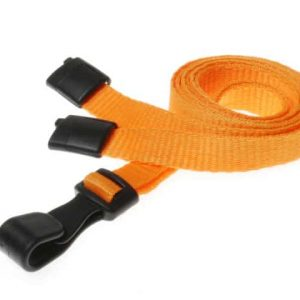 Plain Orange Lanyards with Plastic J Clip (Pack of 100)