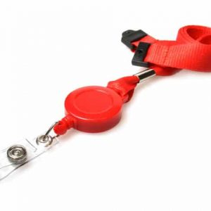 Plain Red Lanyards with Card Reels (Pack of 50)