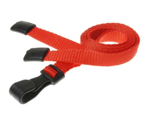 Plain Red Lanyards with Plastic J Clip (Pack of 100)