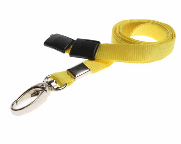 Plain Yellow Lanyards with Metal Lobster Clip (Pack of 100)