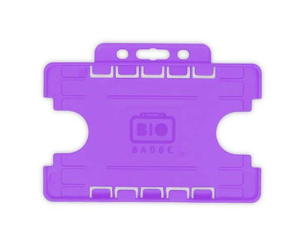 Purple Dual-Sided BIOBADGE Open Faced ID Card Holders - Landscape (Pack of 100)
