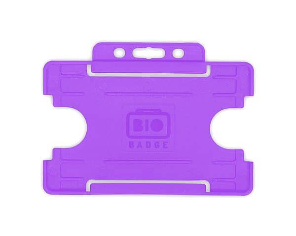Purple Single-Sided BIOBADGE Open Faced ID Card Holders - Landscape (Pack of 100)