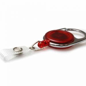 Red Carabiner ID Badge Reels with Strap Clip (Pack of 50)