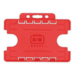 Red Dual-Sided BIOBADGE Open Faced ID Card Holders - Landscape (Pack of 100)