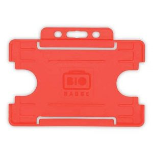 Red Single-Sided BIOBADGE Open Faced ID Card Holders - Landscape (Pack of 100)
