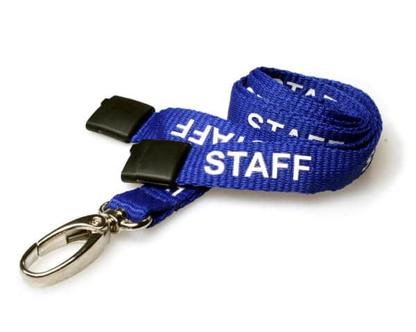 Royal Blue Staff Lanyards with Metal Lobster Clip (Pack of 100)