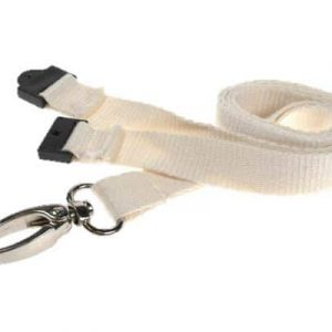White Bamboo Lanyards with Metal Lobster Clip (Pack of 100)